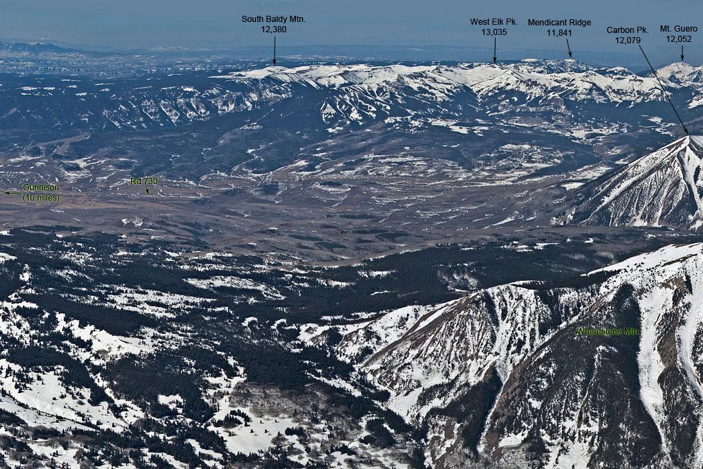 elk and west elk mountains aerial views